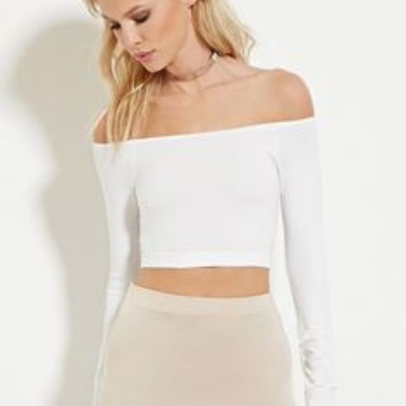 66c3fcb5265 Forever 21 Tops - Forever 21 White Off the Shoulder Long Sleeve Crop